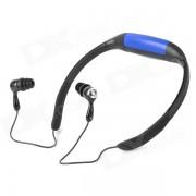 Reproductor de MP3 con audifonos recargables en el oido y resistente al agua con radio FM - azul + negro (4 GB)