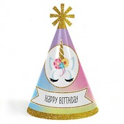 Big Dot Of Happiness Rainbow Unicorn - Cone Magical Happy Birthday Party Hats For Kids And Adults Set 8 (Standard Size)