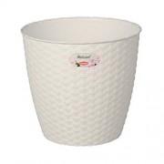 STEFANPLAST Bílý plastový květináč Rattan - průměr 14cm 1,1l