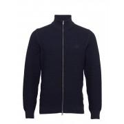 GANT D1. Cotton Texture Fullzip Stickad Tröja Cardigan Blå GANT