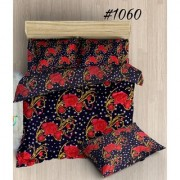 craftwell beautiful red flowers and stars on blue 3d bedsheet wit 2 pillow covers