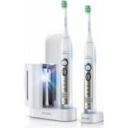 Periute de dinti electrice Philips HX693236 Sonicare FlexCare 2 manere 2 capete 3 moduri Sterilizator UV AlbVerd