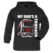 Z -My Dad's A Trucker black hoodie kids boy girl Lorry HGV Volvo Scania Iveco
