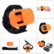 Elastico cinturon de muneca de silicona caso de proteccion para GoPro Hero3 + / 3 Wi-Fi de control remoto - naranja
