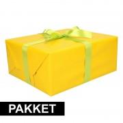 Shoppartners Gele cadeauverpakking pakket met lichtgroen cadeaulint