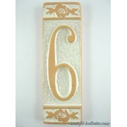 Numero civico ceramica con fiore bianco nfb6