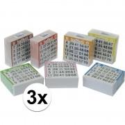 Merkloos 3x Bingo kaarten 1-75 gekleurd - Kansspelen
