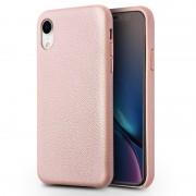 QIALINO Delicate Litchi Texture Calf Skin Genuine Leather Coated PC Back Shell for iPhone XR 6.1 inch - Pink