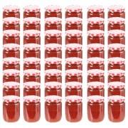 vidaXL Frascos de vidro com tampas brancas e vermelhas 48 pcs 230 ml