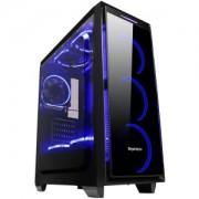 "Carcasa Segotep Halo 6 Plus neagra, SECC Steel ATX Mid Tower, fara sursa (tip ATX, montata jos), interior vopsit negru, 3x 3.5"" (intern), 2x 2.5 (intern), fata - 3x 120mm Blue LED fans (inclus)"