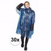 Merkloos 30x wegwerp regenponcho blauw