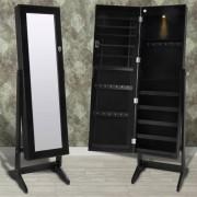 vidaXL Espelho guarda jóias preto com LED