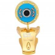 Clip-on Cámara Giratoria Webcam HD Ordenador LEXI 20M Píxeles USB 6 LED Con Función De Memoria Triángulo Soporte Para Escritorio PC Portátil Oro Y Azul