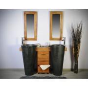 Saniteck Salle bain teck 140 cleopatra noir tiroirs