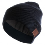 Fashionable Bluetooth Music Hat Winter Sports Warm Knitted Hat with Mic - Dark Blue
