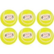 SVR Cricket Tennis Balls in Yellow for Adults - Pack of 6 Standard Size Selected Rubberized Light Quality