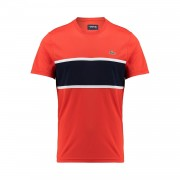 Lacoste Resistant Color Block Tee Etna Red/White-Marine L