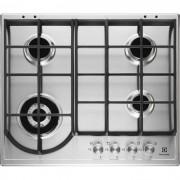 Plita incorporabila Electrolux EGH6343BOX, 4 arzatoare gaz; WOK, Aprindere electrica; Gratare fonta; 60 cm; Inox