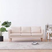 vidaXL 3-местен диван, текстил, кремав