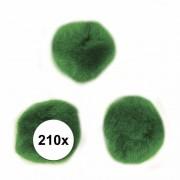 Rayher hobby materialen 210x groene knutsel pompons 7 mm