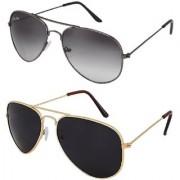 Silver Kartz Combo of 2 Wayfarer Unisex Sunglasses(scm22//Black)