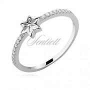 Sentiell Srebrny delikatny pierścionek z kwiatkiem pr.925 cyrkonia biała