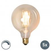 Calex Set van 5 LED filament lamp G125 E27 4W dimbaar