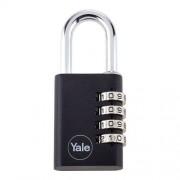 Lacat din aluminiu negru cu cifru Yale YE3C/38/131/1/BK