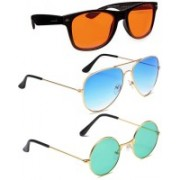 Elligator Aviator, Wayfarer, Round Sunglasses(Orange, Blue, Green)