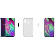 Samsung Galaxy A40 - 64GB - Zwart + Transparant Hoesje + Screenprotector