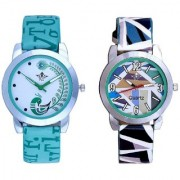 Lite Green Peackock Fether Art Design With Sky Multi Colour Isolatic Design Exclusive SCK Wrist Watch For Women Girl