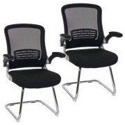 Hjh Lote 2 sillas de confidente ERGOCITY V, estructura metálica, color negro y patas negras