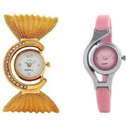 Women Fancy Combo Of Golden And Pink Analog Girls Watches