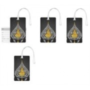 100yellow Luggage Tags- Lord Buddha Print High Quality PVC Tag with Silicon Strap- Ideal For Travel-Pack Of 4 Luggage Tag(Multicolor)