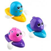 iKidsislands Baby Bath Toys / Bathtub Toys for Toddlers, Kids, Babies, Boys and Girls - Floating & Wind up Swimming Toy - Set of 3 Ocean Animals ( Purple Dolphin, Pink Fish, Blue Penguin )