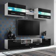 vidaXL 5-részes magasfényű fekete fali TV-szekrény LED-fényekkel