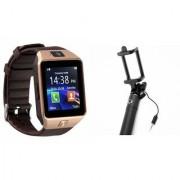 Zemini DZ09 Smart Watch and Selfie Stick for SAMSUNG GALAXY CORE PRIME 4G(DZ09 Smart Watch With 4G Sim Card Memory Card| Selfie Stick)