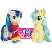 "My Little Pony Friendship Magic: Miss Pommel and Shining Armor plush toys 10"" and MLP Sticker"