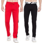 Cliths Cotton Track Pants for Men/Sport Lowers For Men - Pack of 2 (Red Black Black White)