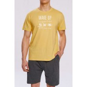 Atlantic Wake Up Pyjama Set Short Sleeved T Shirt & Shorts Loungewear Yellow NMP-310