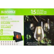 SUNFORCE String Lights 15 LED bulbs Solar Powered Battery 10m/33 ft