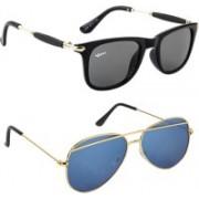Rich Club Wayfarer, Aviator Sunglasses(Black, Blue)