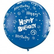 Baloane latex Jumbo 3 ft inscriptionate Birthday Stars & Swirls-A-Round Sapphire Blue, Qualatex 46322, 1 buc