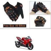 AutoStark Gloves KTM Bike Riding Gloves Orange and Black Riding Gloves Free Size For TVS Apache RR310