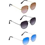 TheWhoop Round Sunglasses(Black, Brown, Blue)