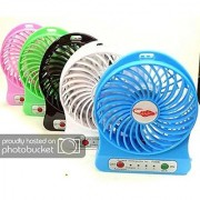 Rny Portable Multifunctional Mini Portable USB Rechargeble 3 Speed-Mode Fan Led Light Funtion (Color May Vary)
