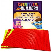 """Creative Builders, Baseplates, Lego Compatible, Set of 4 Base Plates, Large Size 10"""" X 10"""", Red & Yellow Variety Pack"""