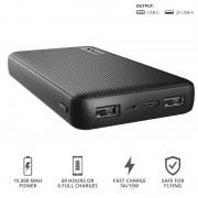 Power Bank, Trust Primo Fast, 15000mAh, Black (23594)