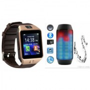Zemini DZ09 Smart Watch and Pulse 2 Bluetooth Speaker for SAMSUNG GALAXY S 5 SPORT(DZ09 Smart Watch With 4G Sim Card Memory Card| Pulse 2 Bluetooth Speaker)
