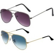 Forty Hands Aviator Sunglasses(Pink, Blue)